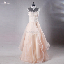 RSE703 High Neck Sexy Lace Floor Length Backless Blush Organza Cheap Pink Wedding Dresses