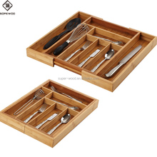 2018 Hot Sale Superior Kitchen Adjustable Bamboo Cutlery Tray