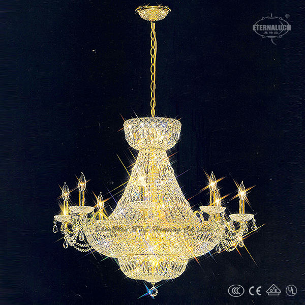 Hight quality European style gold color 19 light Empire stairs crystal pendant lamp ETL86010