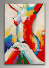 New Design Hot Colorful Abstract Nude Lady Oil Paintings on Canvas