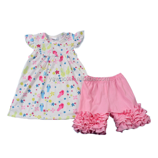 Yawoo shoes patterns pearl dress match icing ruffle shorts summer clothes baby clothing