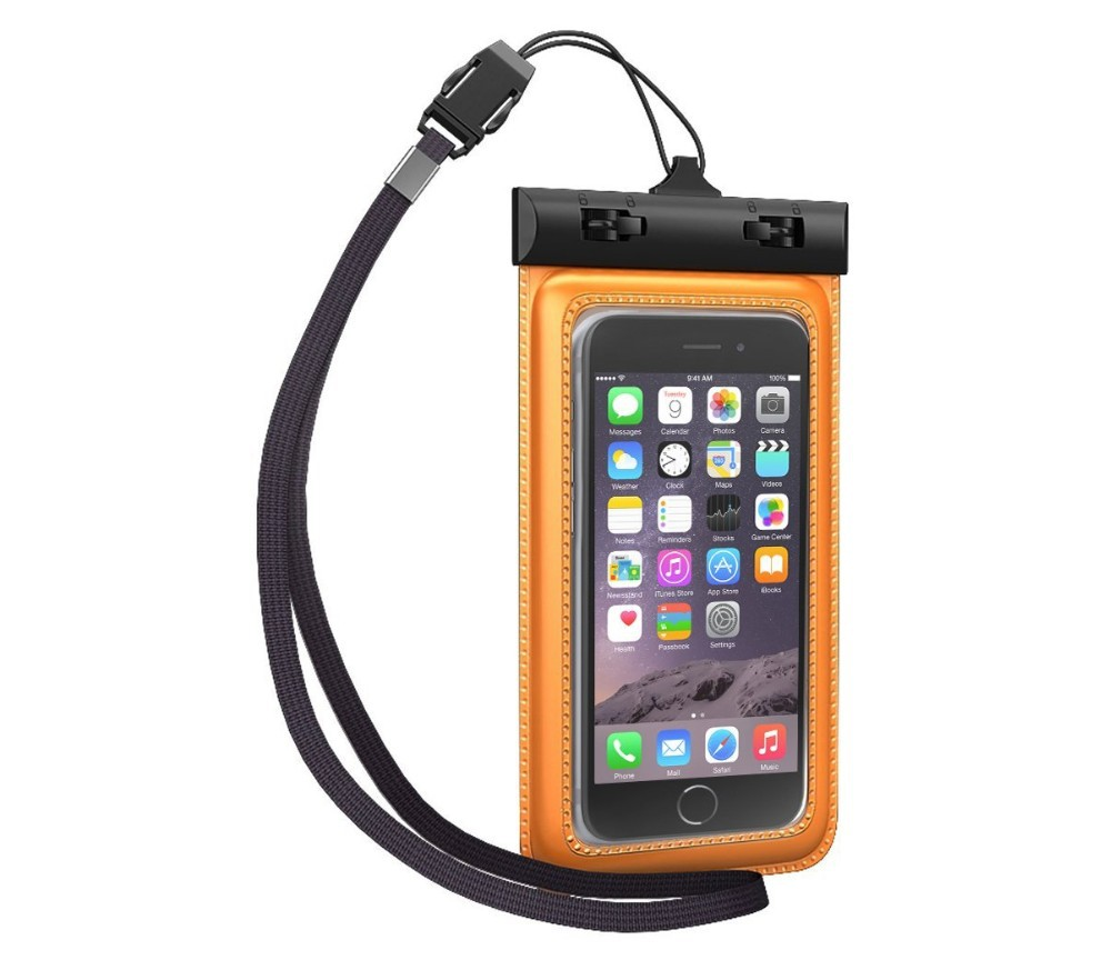 Orange waterproof bag with transparent PVC for galaxy s5,waterproof case/waterproof beach bag/waterproof pouch for cell phone