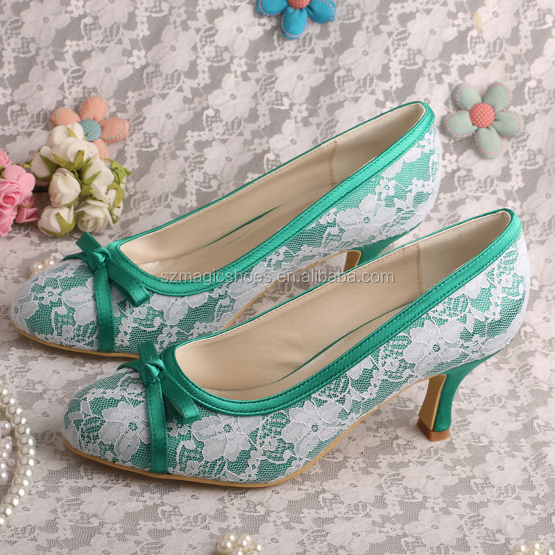 Green Satin Lace Shoes Bride Medium <strong>Heel</strong>
