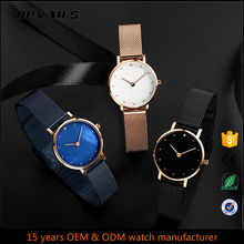 Fashion Charm Rose Gold Color Slim Stone Japan Movt Small Wrist Ladies Watch