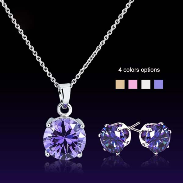 Multicolored 925 Sterling Silver Cubic Zircon Crystal Necklace and Earring Jewelry Sets for Women