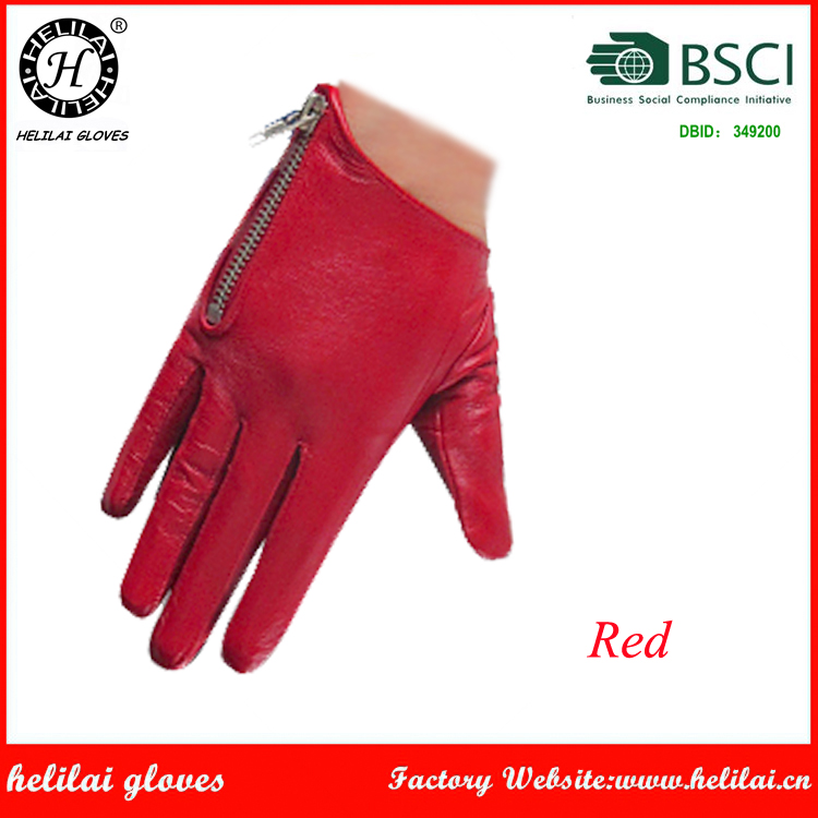 Helilai Unisex Women Mens Red Tight Short Driving Zipper Nappa Leather Gloves