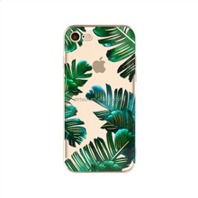For iPhone 6 6S 7 5 5S SE 7plus 6Plus 6sPlus Phone Case Soft Silicone Plants Cactus Banana Leaves Transparent Back Cover case