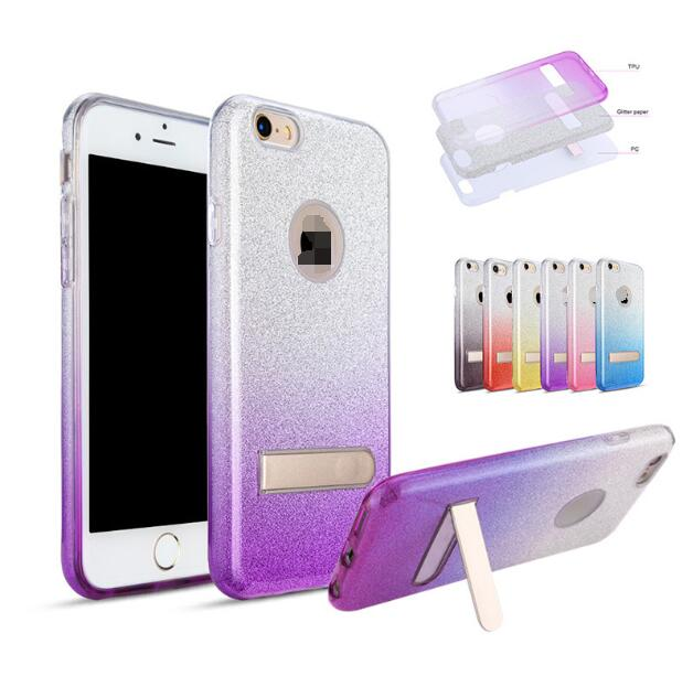 Glitter Bling Flash Powder Clear TPU case 3 In 1 Gradient Color Cell Phone Case stand holder for iphone7,models for iphone