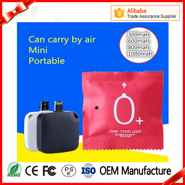 Portable Mini One Time Using Emergency 300mAh Mobile Phone Battery Charger for Iphone ,Android Power Bank