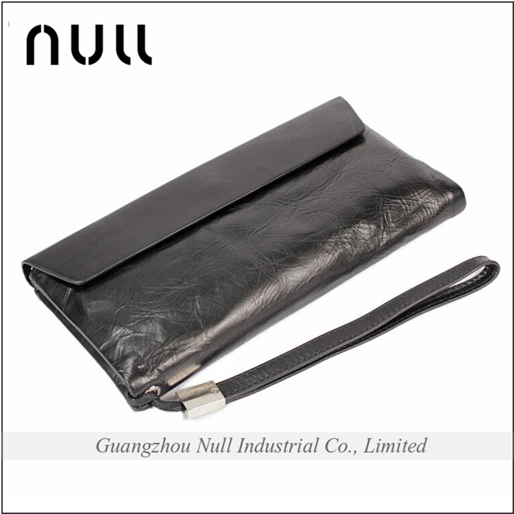 Wholesale black cell phone cheap detachable wrist strap hand clasp men wallet designer clutch leather materials male purse