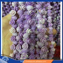 8mm 3D carved vintage purple two-tone color artificial flower rose coral beads for jewelry making