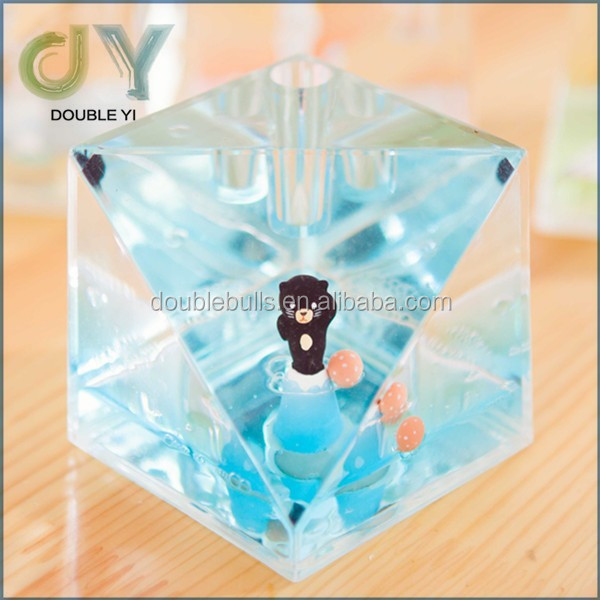 Custom Blue Pen Holder Useful Glass Pen Holder Crystal Pen Holder For Company Table Gifts
