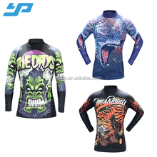 custom 3D colorful sublimation mens mma long sleeve printing mma rush guard