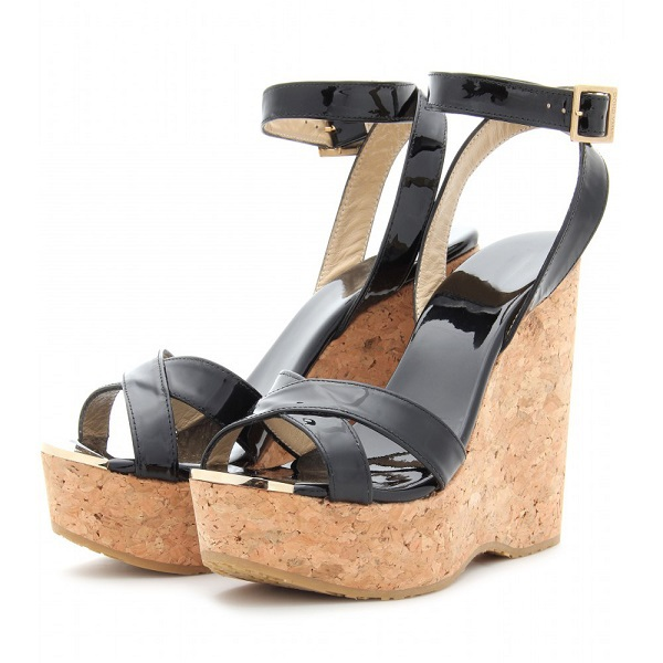 2015 Classic Women Sandals Wedges High Heels Ankle Strap Patent Leather Buckle Strap Chunky Summer Dress Ladies Shoes
