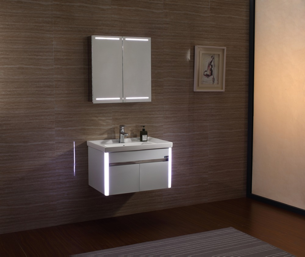 2016 european modern stainless steel bathroom cabinet vanity with led