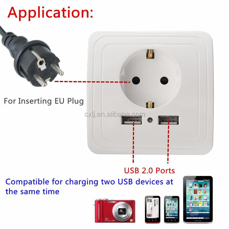 5V 2A Wall Charger EU Plug Dual 2 USB Ports Electric Adapter Wall Power Socket Plug Outlet Panel Power Charging Dock Station