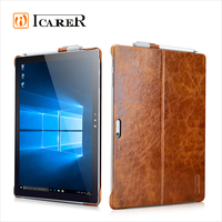 ICARER Genuine Leather Back Cover Tablet Case for Microsoft Surface Pro 4 with Stand Function