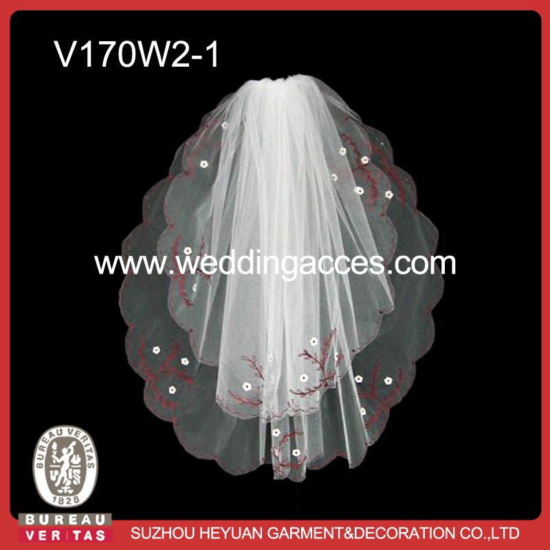 2-layer White+Red embroidered applique wedding bridal veil