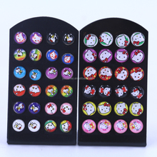 Free Shipping 8mm 10mm 12pairs Set Round KT Print Cartoon Design Resin Oil Dripping Metal Iron Stud Earrings