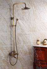high class brass copper antique bronze bathroom exposed rain shower faucet mixer tap whole sets