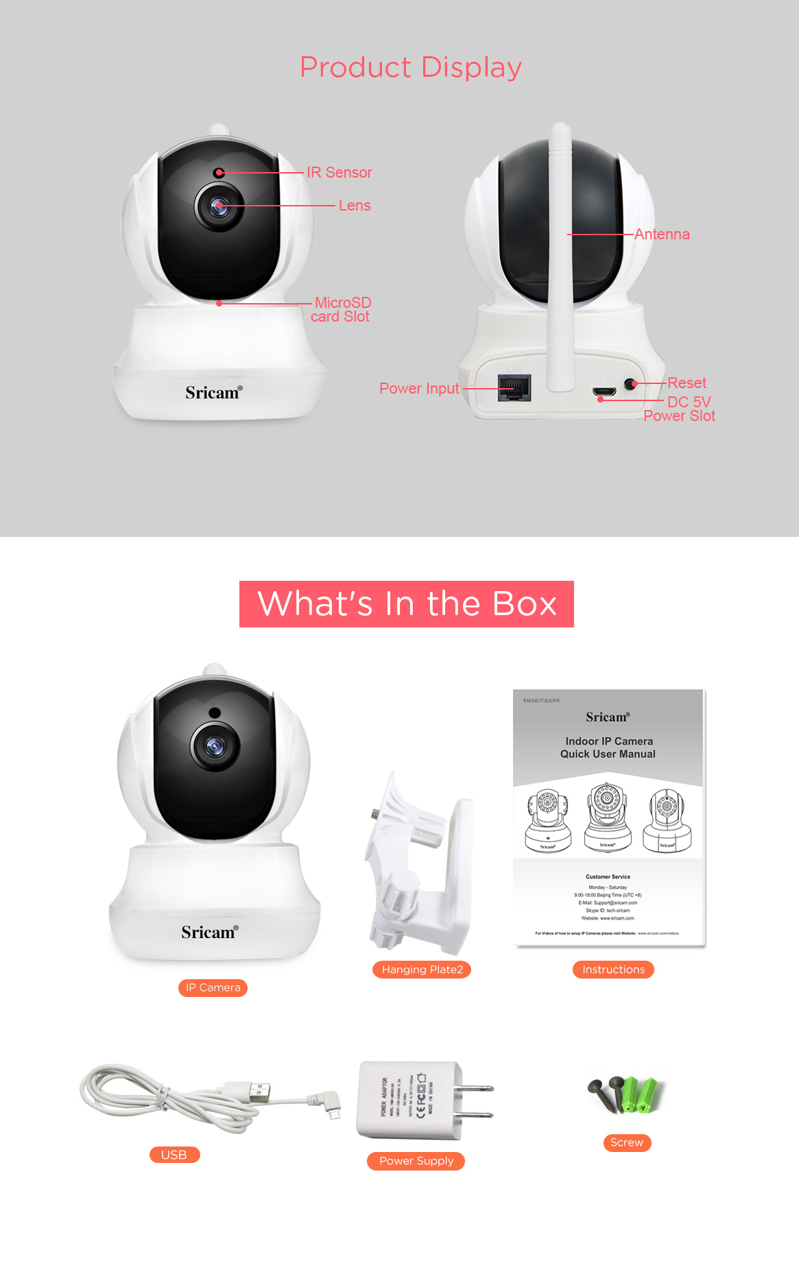 Sricam SP020  Indoor Mini 1080P IP Camera night vision two way audio 2mp wireless surveillance cctv camera