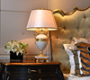 Graceful white color jade body brass bottom home use table lamp with fabric lampshade