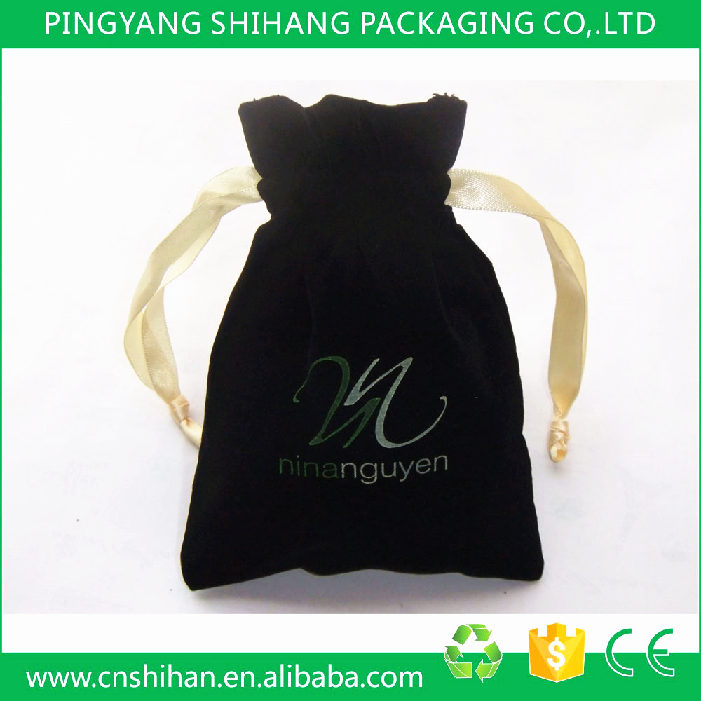 2015 Promotion customized logo printed velvet drawstring pouch/bag