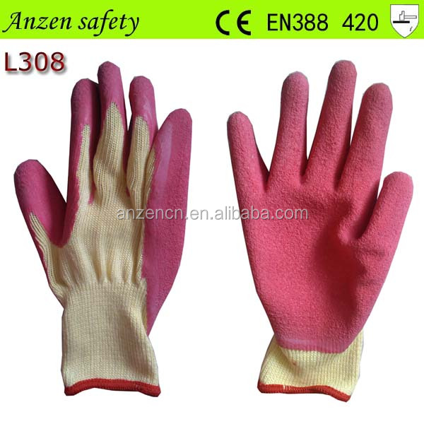 red palm safe hands glove with wrinkle surface