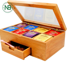 Wooden Bamboo Tea Box, Tea Bag Storage Chest with Expandable Drawer, 8 Compartments