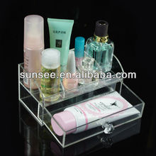 Transparent acrylic cosmetic display cases with drawer