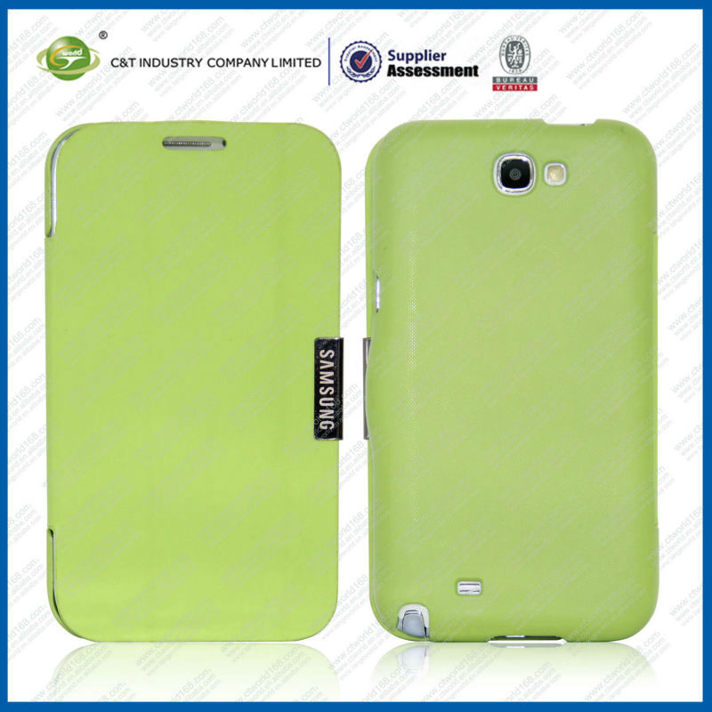 2013 Green Leather Wallet Flip Cover for Samsung Galaxy Note 2 Case N7100