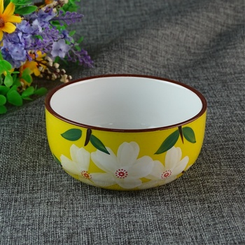 Japanese Style Flower Yellow Ceramic Bowl Bulk Big Porcelain Bowls