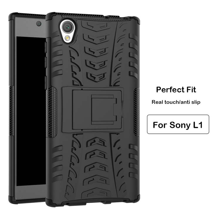 2 in 1 Hybrid tire kickstand heavy duty armor case for Sony Xperia L1 with stand