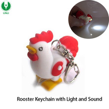 2017 Hot Selling Plastic Animal Shape Custom Sound Led Keychain Light, Led Rooster Keychain