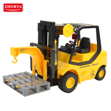 Zhorya 1:14 scale 4 channel kids plastic battery-powered engineering truck toy rc crane forklift