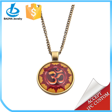 2018 popular jewelry yellow red glass cabochonom ohm pendant yoga necklace