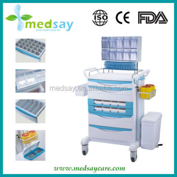 Plastic Medical Anesthesia Cart with castor