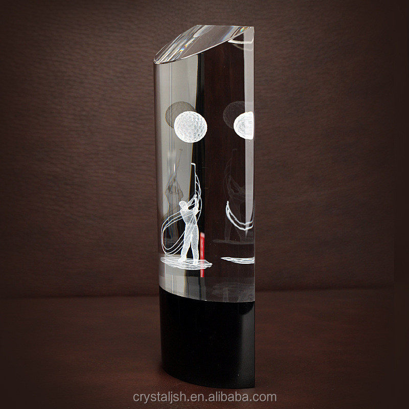 high quality crystal glass trophy clear crystal trophy with black base golf trophy