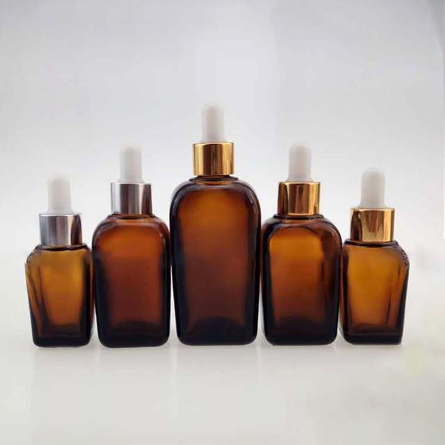 10ml 15ml 30ml 50ml 100ml eye face essential oil cosmetic packaging amber square glass dropper bottle