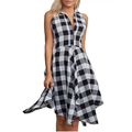 Clothing Manufacturer Women Shirt Collar Casual Handkerchief Tartan Swing Dress
