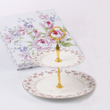 Round floral pattern ceramic two layer cake stand