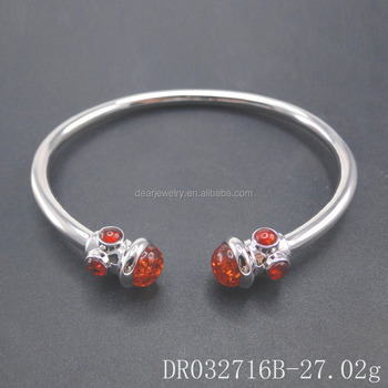 Fashionable Designs For Women Amber Jewelry Silver Bangle DR032716B