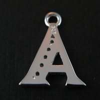 Letter A Charm with CZ Stone- Jewelry Making ,Jewelry Findings-Alphabet Charms