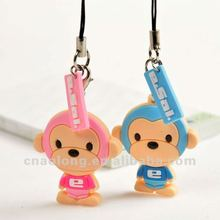 lovely monkey rubber couple mobile phone strap,soft pvc cell phone accessories keychain