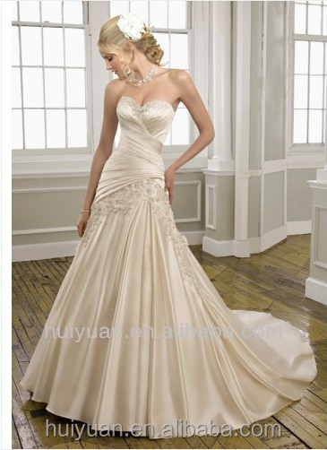 Taffeta deep v neck A-line wedding dress in cream color