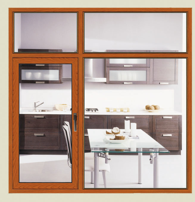 Qingdao grill design aluminum covered wood material window for Windoor design