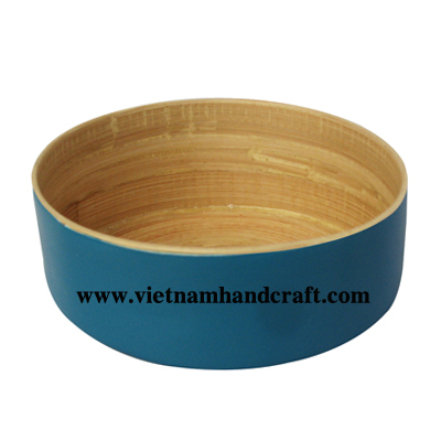 Eco-friendly hand lacquered vietnamese blue lacquered bamboo clip boxes with natural spun bamboo inside