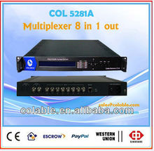 Multiplexer 8 in 1 out, MPEG-2 TS Multiplexer 8 In 1 TS & ASI output multiplexer tv and radio station equipment for sale