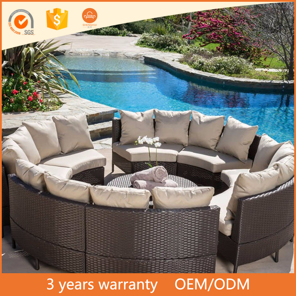 Modern Super Comfortable Wicker Sofa Round Outdoor Garden Furniture