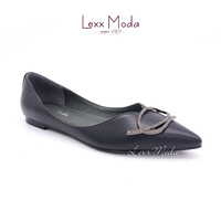 Black new design low heeled ladies flat shoes